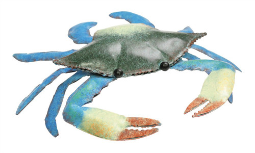 Blue Crab Painted Metal Figurine Tabletop Decor 6.75 Inches