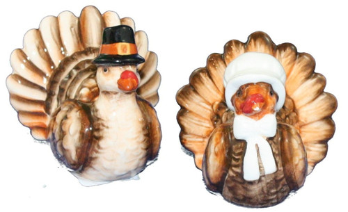 Boy and Girl Turkey Pilgrims Salt and Pepper Shakers Set Ceramic