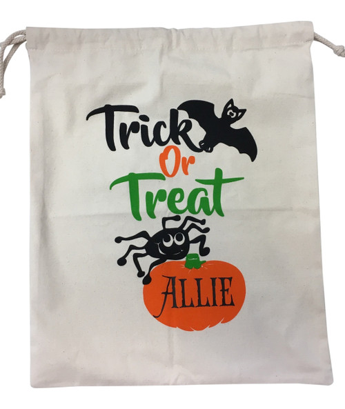 Personalize It Halloween Trick or Treat Goody Loot Bag Drawstring Tote Cotton