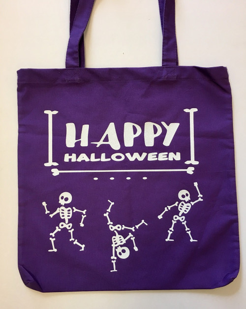 Happy Halloween Dancing Glittery Skeletons Purple Goody Loot Bag Tote Cotton