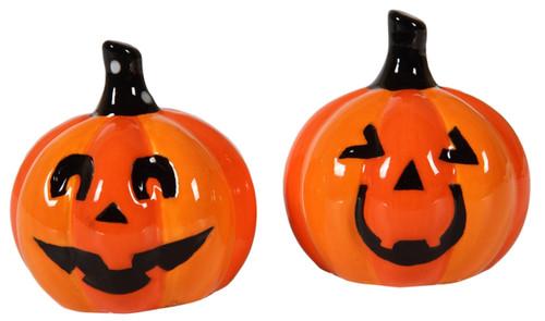 Whimsical Smiling Jack O Lanterns Halloween Salt and Pepper Shaker Set