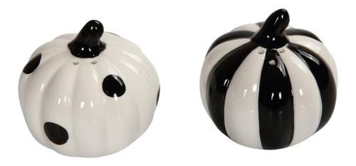 Black and White Stripes and Polka Dots Pumpkins Salt and Pepper Shaker Set