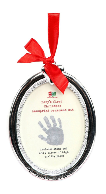 Baby Handprint First Christmas Holiday Ornament Frame DIY Stamp Kit Resin
