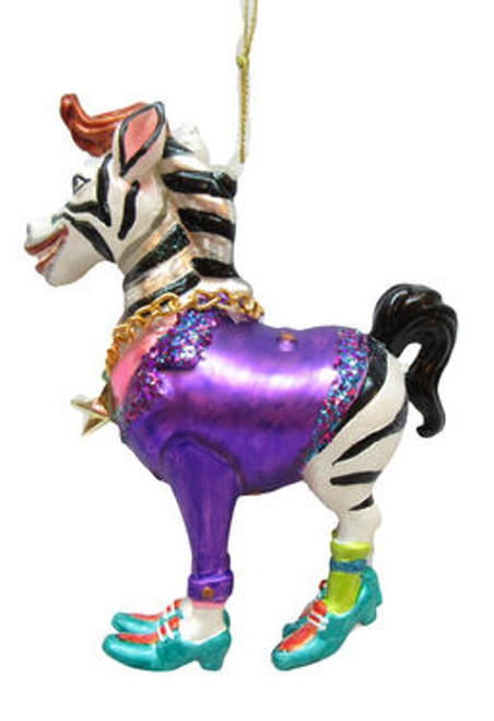 Circus Zebra Guy in Purple Jacket Christmas Holiday Ornament Glass