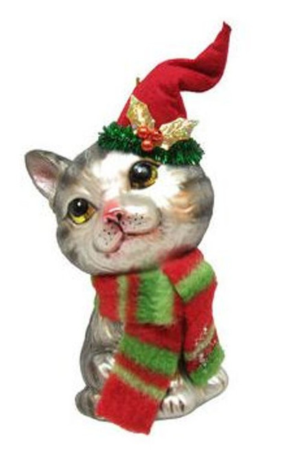 Kitty Cat In Stocking Hat Christmas Holiday Ornament Glass