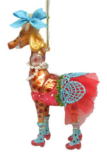 Circus Giraffe Lady in Lacy Pink Dress Christmas Holiday Ornament Glass