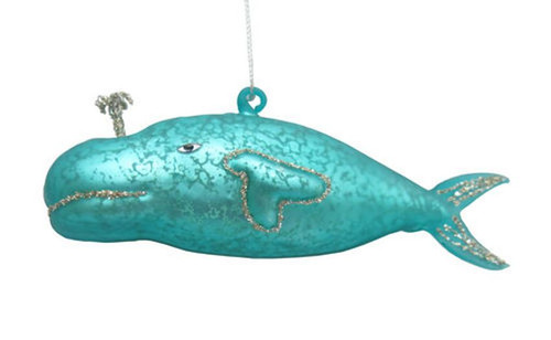 Teal Blue Whale Christmas Holiday Ornament Glass