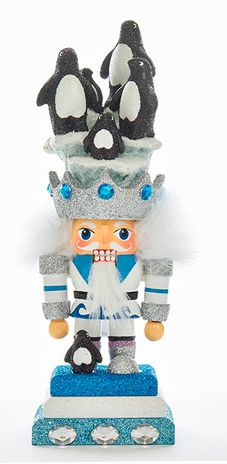 Arctic Hollywood Nutcracker With Penguins on Hat Christmas Figurine