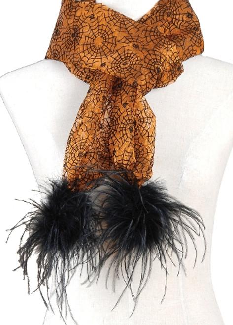 Orange Spooky Spider Web Black Feather Scarf Halloween Costume Accessory