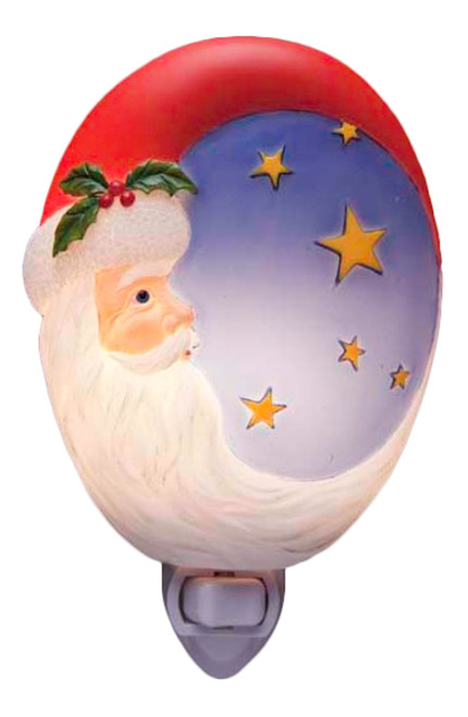 Christmas Holiday Santa Moon Hand Painted Night Light