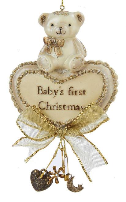 Babys First Christmas Bear on Heart Christmas Holiday Ornament 5 Inch Kurt Adler