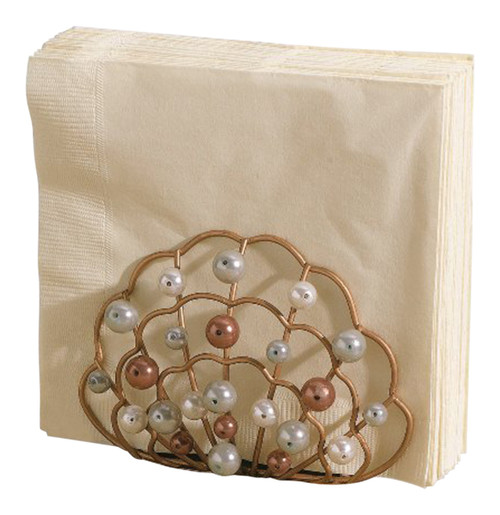 Coastal Clam Shell Faux Pearls Napkin Holder Grasslands Road