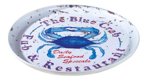 Blue Crab Pub Restaurant Metal Advertising 12 Inch Serving Tray Kitchen Decor