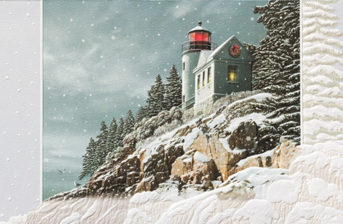 Christmas At Bass Harbor Sculpted Embossed 16 Boxed Holiday Cards and Envelopes