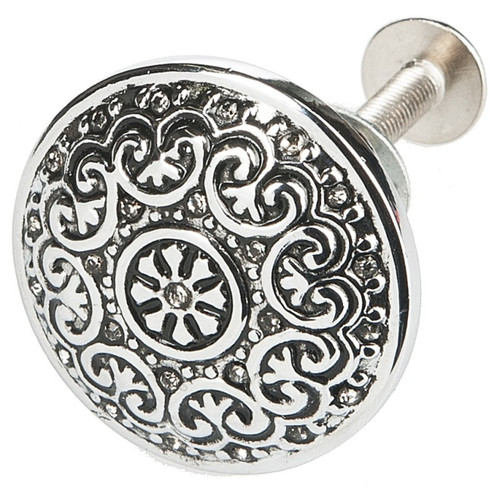 Silver Elegance Round Drawer Pull with Clear Rhinestones Ganz