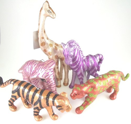 Jungle Safari Animals Giraffe Elephant Tiger Leopard Zebra Ornaments Set of 5