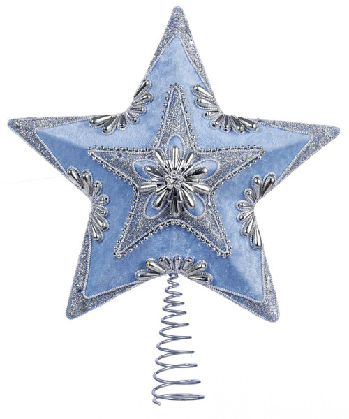 Blue and Silver Beaded Star Tree Topper Christmas Holiday 13.5 Inch Kurt Adler
