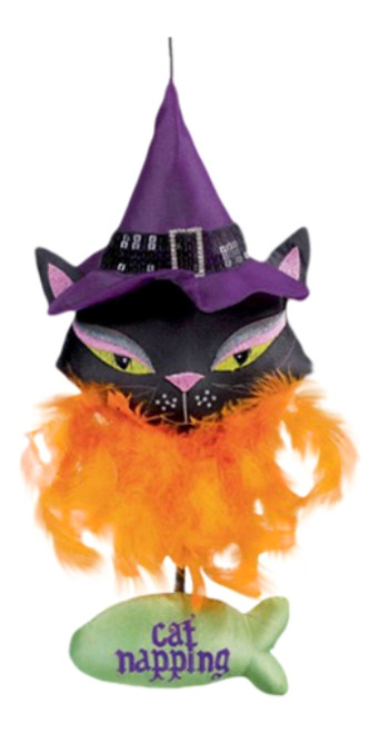 Black Kitty On the Prowl Cat Napping Halloween Door Hanger