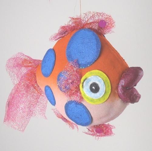 Orange  Blue Dots Tropical Fish Nautical Beach Christmas Holiday Tree Ornament