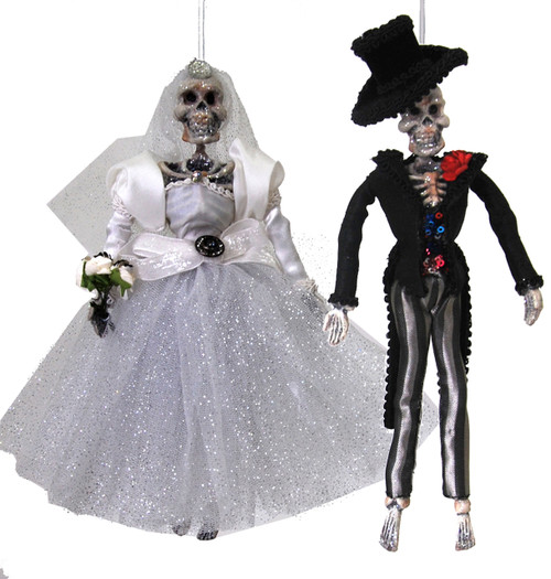 Bride and Groom Halloween Skeleton Day of the Dead Ornaments Set of 2
