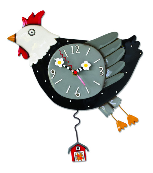 Chicken Flew The Coop Barn Shaped Pendulum Battery Wall Clock