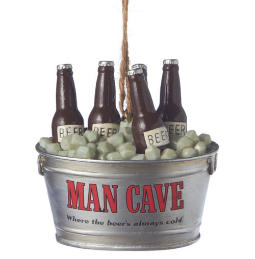Man Cave Ice Cold Chilled Bucket of Beers Christmas Holiday Ornament