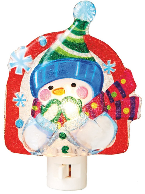 Wintry Fun Whimsical Snowman with Mittens Night Light Midwest CBK