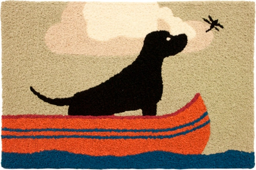 Black Lab in Canoe Watching Dragonfly Fly By Accent Washable Area Rug