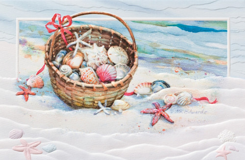 Basket of Shells and Starfish Embossed 16 Boxed Holiday Cards and Envelopes