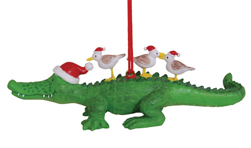 Alligator with Seagull Birds in Santa Hats Christmas Holiday Ornament Cape Shore