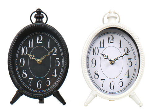 Black and White Oval Metal Battery Table Desk Mantle Clocks Set of 2