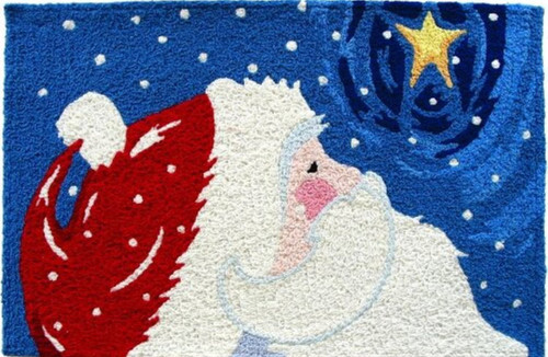 Christmas Holiday Star Gazing Santa 21 X 33 Inch Area Accent Rug