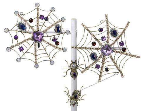 Jeweled Golden Spider Webs Clip On Halloween Ornaments Decor Set of 2 Katherines