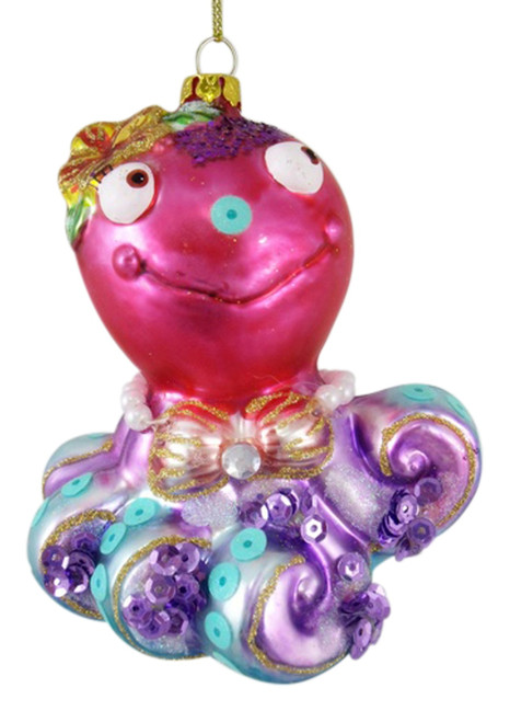 Pretty Pink and Purple Coastal Octopus Glass Christmas Holiday Tree Ornament