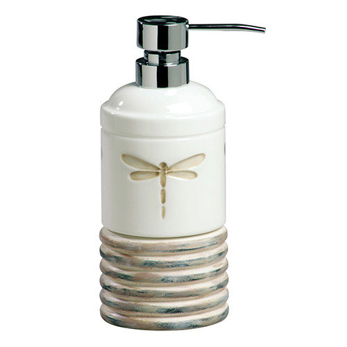 Dragonfly on White Ceramic Bathroom Lotion Soap Pump