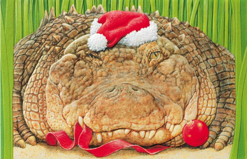Alligator Santa Gator Greetings Embossed 16 Boxed Holiday Cards and Envelopes