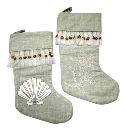 19 Inch Seagreen Linen Seashell and Coral Christmas Holiday Stockings Set of 2
