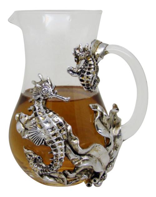 Clear Glass Serving Pitcher with Pewter Seahorse Icon Coastal Kitchen Dining