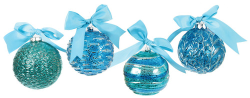 Beautiful Blues Embossed Patterned Glass with Bows Holiday Ornaments Set of 4