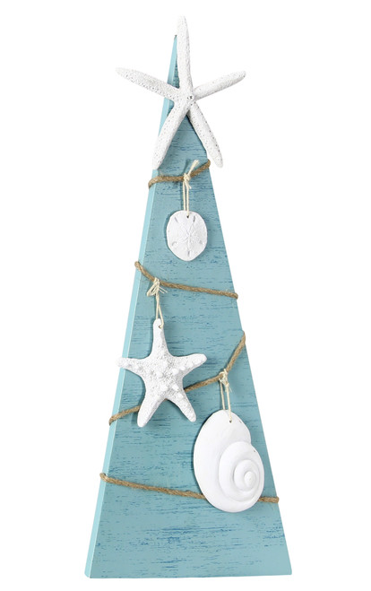 Beachy Blue Coastal Christmas Tabletop Wood Tree with Shell Accents