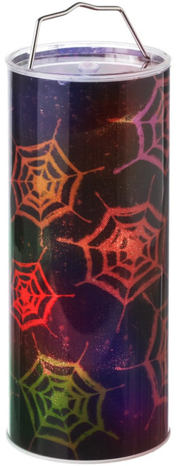 Spooky Halloween Spider Webs Lights Up LED 12 Inch Hanging Pillar Midwest CBK