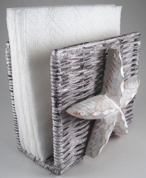 Coastal nautical ocean starfish wicker napkin holder mary b decorative art - Coastal napkin holder ...