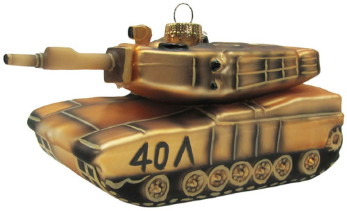 Army Tank Christmas Holiday Glass 5.5 Inch Ornament