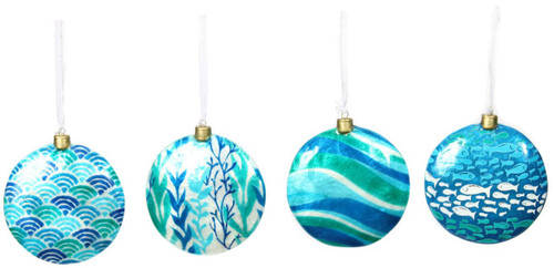 Capiz Shell Little Fishys Seaweed Blue Green Holiday Ornaments Set of 4