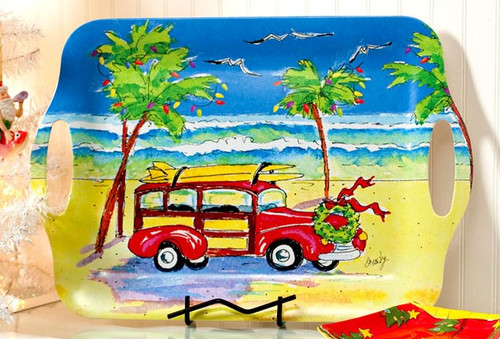 Coastal Holiday Woodie and Surfboards Serving Tray 18 Inch Large