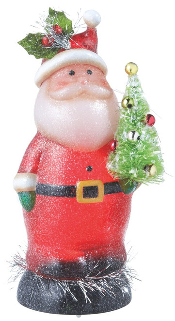 Light Up 8.5 Inch Jolly Santa with Tree Holiday Tabletop Centerpiece Midwest CBK