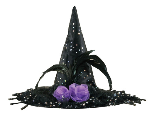 Polka Dot Sparkle Black Witch Hat Halloween Costume Fashion Accessory