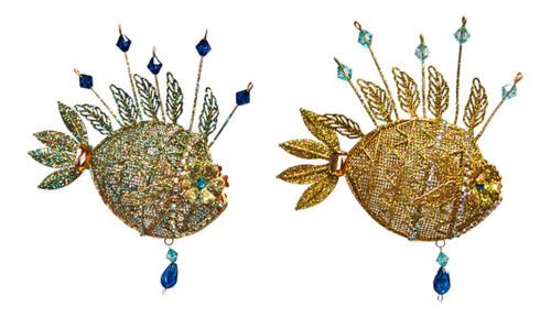 Funky Fish Baguette Jewels Holiday Ornaments Set of 2 Katherine's Collection