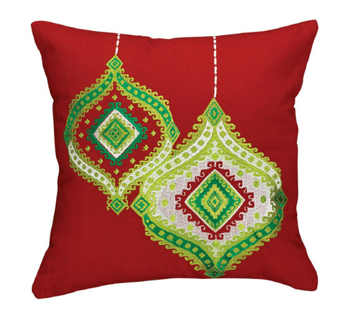 Bright Red and Green Christmas Ornaments Embroidered 16 Inch Throw Pillow