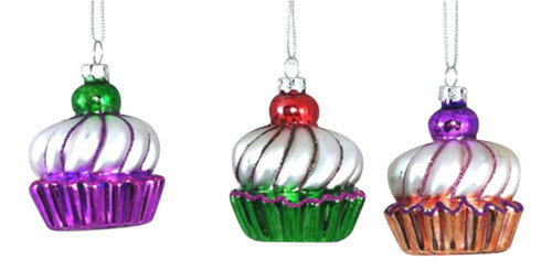 Bakers Cupcakes with Cherry Top Glass Christmas Holiday Tree Ornaments Set of 3